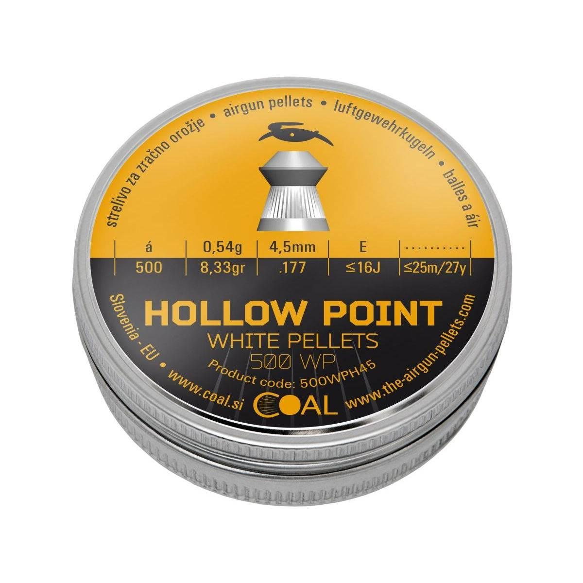 Coal pellets/diabolo hollow point cal. 4,5 mm / .177 - 0,54 g - pz 500